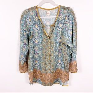 Sundance | Blue Gold Boho Mandala Top